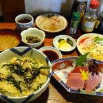 京田村 - 京風玉子丼とまぐろ刺身単品、更には小鉢群!