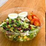 モア サラダ - 無料トッピングはササミ。追加トッピングはゆで卵にしました!