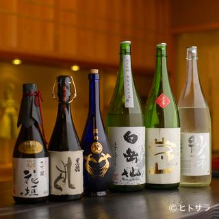 地元の酒蔵から直接入荷する、豊富な日本酒を取り揃え