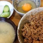 なんどき屋 - 牛飯(並)セット、卵  630円