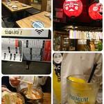 牛ホルモン串 吉村 - レモンと黄色のTシャツがかっくいい♡ そしてみんなで麺リフト(笑)