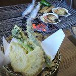 ろばた焼 童子 - 竹の子が甘い!天ぷらと焼き物
