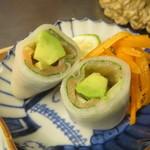食堂ことぶき - スモークサーモンと野菜のロール