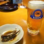 きんちゃく家 - 大阪湾 真イワシしょうが煮 & 生ビール