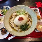 食彩遊膳 まる梅 - 温きのこ泡麩肉帯麺セット ¥1050