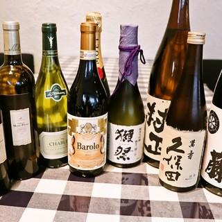 世界各国からワイン日本全国から焼酎・日本酒など厳選のお酒も