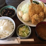 居食処 まんなか屋 - カキとアジフライ定食(950円)