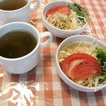 来鈴亭 - ランチのサラダとスープ