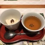 河一屋旅館 - ほうじ茶プリンと蕎麦茶