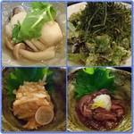 75705442 - しめじと里芋の煮物/やみつき海苔サラダ 梅水晶/ホタルイカの沖漬け