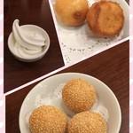 鵬天閣 - 胡麻団子、カスタード揚げまんじゅう、ソフトクリーム