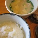天ぷら わた辺 - 豚汁と柔らかでつやつやのご飯ヾ(*´∀`*)ノ