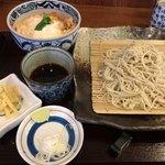 そば処 貴乃家 - ミニかつ丼セット せいろ 1,080円【薬味がチープ!!】 箸に違和感