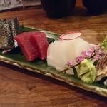 美味ひでき - 刺身盛合せ、刺身はカマス炙り、剣先イカ、本マグロ、秋刀魚炙り、しめ鯖