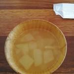 75745374 - 2017年10月:例のパンやさんのパンランチ(\800)の冬瓜スープ。曜日限定ランチ