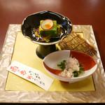 人形町今半 - 前菜(翡翠豆腐と水菜のお浸し)