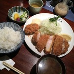 Tonkatsuyamaichi - 特ロースかつ定食に牡蛎フライを追加で