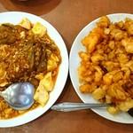 六福楼 - 左 麻婆茄子豆腐・右 菜花双丁(鶏と海老とカリフラワー炒め)