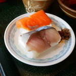 75767455 - 柿の葉寿司(鯖、鮭)
