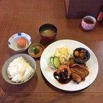 ちきんはうす - 日替わりランチ ササミフライ 地鶏塩焼き しぐれ煮  ¥1000 税込