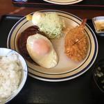 レストラン かつみ - ハンバーグ+えびクリームコロッケ+マヨネーズ 983円