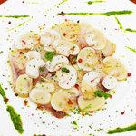 ミア・アンジェラ - ブリと十勝マッシュルームのカルパッチョ-アンチョビとルッコラのソース
