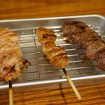 串焼キ&煮込ミ カメチヨ - 串焼き(塩):もも・ぼんじり・ラムランプ