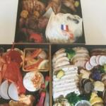 カフェ&ブラッスリー イレラ - おせち料理。ご予約承ります。5寸三段重、¥15000(税別)。詳細はお電話にて。こちらの写真はイメージです。