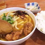 75796956 - 1710_UDON & COFFEE MIKAWA -参河-_参河の唐揚げカレーうどん@60,000Rp+平日ランチセット(ご飯+コーヒー)@15,000Rp