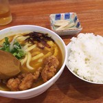 75796967 - 1710_UDON & COFFEE MIKAWA -参河-_参河の唐揚げカレーうどん@60,000Rp+平日ランチセット(ご飯+コーヒー)@15,000Rp