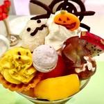 タカノフルーツパーラー - ハロウィンパフェ@お化けは求肥に包まれた芋カスタードでした。パンプキンタルト、いろんなお菓子でTrick or Treat!
