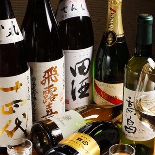 厳選地酒&世界各国ワインが80種以上プレミア酒も豊富