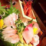 魚沼の恵をあなたへ 八海山バル - 美しいお刺身盛り合わせ