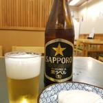桂庵 - 晩酌セットのビールと板わさ