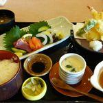 食事処かもきみ - お造り天ぷら定食
