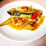 ニイハオ - 茄子と三味豚の四川炒め