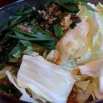 みやもと - もつ鍋+野菜豆腐+〆のちゃんぽん