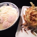 75849399 - 1710_丸亀製麺 Mall Artha Gading_TORIBAITAN UDON@48,000Rp(鶏白湯うどん)+YASAI KAKIAGE@13,000Rp(野菜かき揚げ天ぷら)