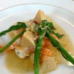 ビランシア - 海老と筍、アスパラの煮込み