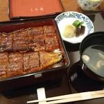 うな昇 - 料理写真:うな重(長焼き一本分、肝吸物、漬け物) 3,750円