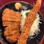 とんかつ 力亭 - 料理写真:ロースカツ エビフライ定食