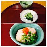 天ぷら いづも - 下はサービスで頂いた鱈の白子。純米吟醸と美味しく頂きましたm(_ _)m