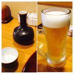 天ぷら いづも - この日は暑くて、地酒の後に生を頂きました。珍しいコトです(笑)。