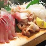 かわなみ鮨 - 刺身盛合せ(縞アジ、ほっき貝、烏賊)