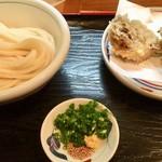 手打うどん かとう - 生醤油うどんと薬味、舞茸の天ぷら