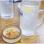 居酒屋浩司 - レモンハイ 450円 &お通し。
