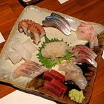 ながほり - お造り盛合せ 白海老、小蛸、鯖、鯛、鯵、平目、鮪の赤身、真名鰹、剣先イカ