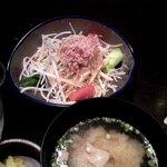 忍庭 - 結構たっぷりな大根サラダと豚汁