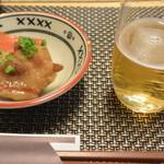 葉隠亭 - お通し(豚肉と野菜の煮物)