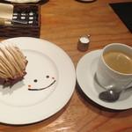 AKANE - モンブランと濃いめのコーヒーのセット(840円)